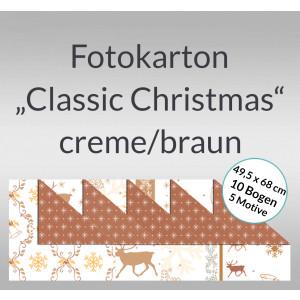 "Fotokarton ""Classic Christmas"" creme/braun 49,5 x 68 cm - 10 Bogen sortiert"