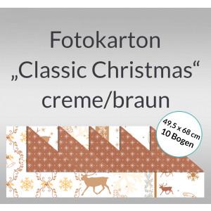 "Fotokarton ""Classic Christmas"" creme/braun 49,5 x 68 cm - 10 Bogen"