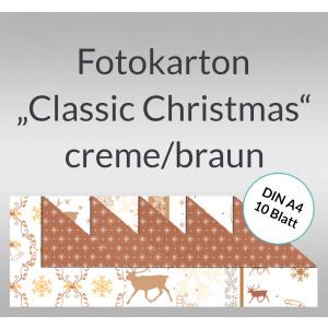 "Fotokarton ""Classic Christmas"" creme/braun DIN A4 - 10 Blatt"
