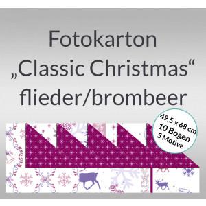 """Fotokarton """"Classic Christmas"""" flieder/brombeer 49,5 x 68 cm - 10 Bogen sortiert"""
