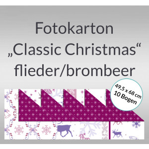 """Fotokarton """"Classic Christmas"""" flieder/brombeer 49,5 x 68 cm - 10 Bogen"""