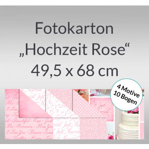 "Fotokarton ""Hochzeit Rose"" 49,5 x 68 cm - 10 Bogen sortiert"