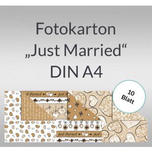 """Fotokarton """"Just Married"""" DIN A4 - 10 Blatt"""