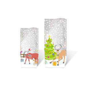"Geschenk-Bodenbeutel ""Rentiere"" 11,5 x 19,0 cm - 10 Stück"