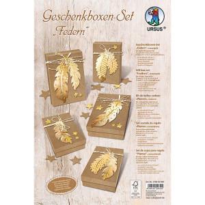 """Geschenkboxen-Set """"Federn"""" creme / gold"""