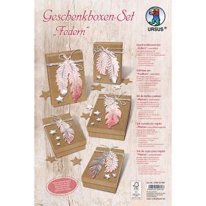 """Geschenkboxen-Set """"Federn"""" rosa / silber"""