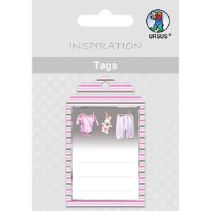 Geschenkeanhänger / Tags Motiv 09 - Baby-Wäscheleine rosa