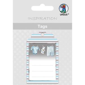 Geschenkeanhänger / Tags Motiv 12 - Baby-Wäscheleine blau