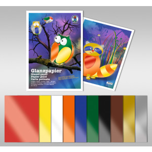 Glanzpapier ungumiert 80 g/qm 25 x 35 cm - 50 Blatt in 10 Farben