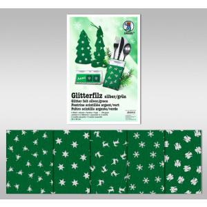 """Glitter-Filz """"silber"""" 20 x 30 cm grün - 5 Blatt"""
