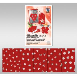 "Glitter-Filz ""silber"" 20 x 30 cm rot - 5 Blatt"