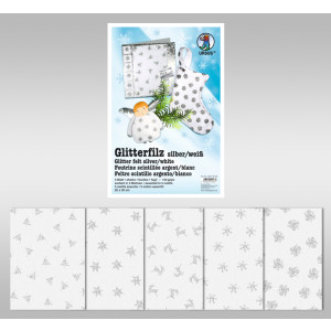 "Glitter-Filz ""silber"" 20 x 30 cm weiß - 5 Blatt"