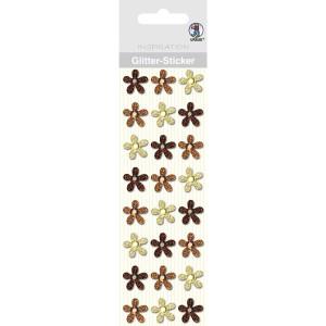 """Glitter Sticker """"Blüten"""" braun/beige"""