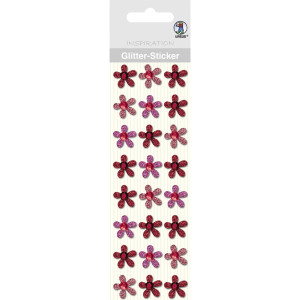 """Glitter Sticker """"Blüten"""" rot"""