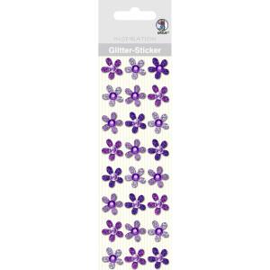 """Glitter Sticker """"Blüten"""" violett"""