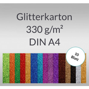 Glitterkarton 330 g/qm DIN A4 - 10 Blatt