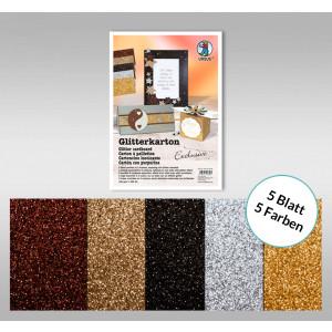 "Glitterkarton ""Exclusive"" DIN A4 - 5 Blatt"
