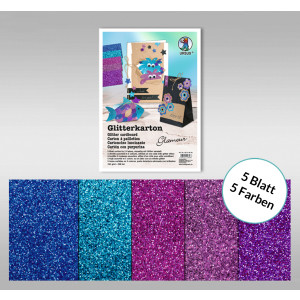 "Glitterkarton ""Glamour"" DIN A4 - 5 Blatt"