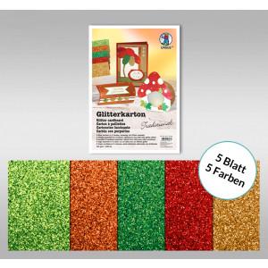 """Glitterkarton """"Traditional"""" DIN A4 - 5 Blatt"""
