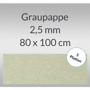 Graupappe 80 x 100 cm - 2,5 mm