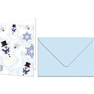 """Grußkarten """"Fest"""" mit Kuverts Schneemänner"""