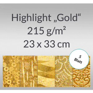 "Highlight ""Gold"" 23 x 33 cm - 5 Blatt"