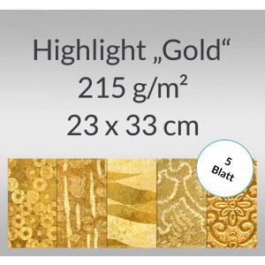 """Highlight """"Gold"""" 23 x 33 cm - 5 Blatt"""