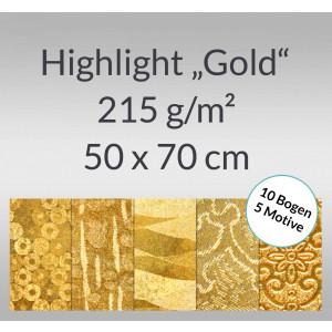 """Highlight """"Gold"""" 50 x 70 cm - 10 Bogen sortiert"""