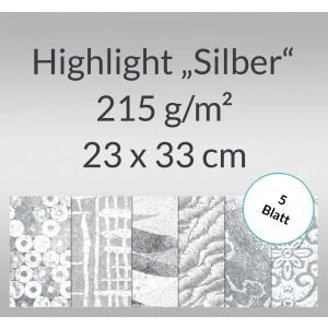 "Highlight ""Silber"" 23 x 33 cm - 5 Blatt"