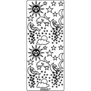 """Hologramm Sticker """"Sonne, Mond & Sterne"""" silber"""