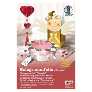 "Hologrammfolie 100 µm ""Herzen"" 35 x 50 cm - 5 Rolle sortiert"