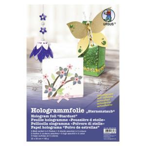 "Hologrammfolie 100 µm ""Sternenstaub"" 23 x 33 cm - 5 Blatt sortiert"