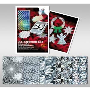 """Hologrammfolie 50 µm """"Silber"""" 23 x 33 cm - 5 Blatt sortiert"""