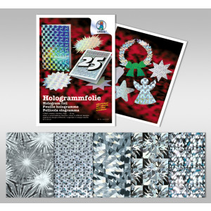 "Hologrammfolie 50 µm ""Silber"" 35 x 50 cm - 1 Rolle"