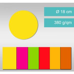 Kreise aus Leuchtfarbenkarton ⌀ 18 cm - 25 Stück