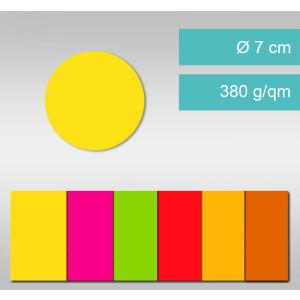 Kreise aus Leuchtfarbenkarton ⌀ 7 cm - 25 Stück