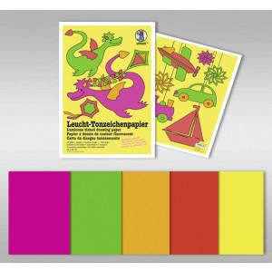 Leucht-Tonzeichenpapier 140 g/qm 23 x 33 cm - 10 Blatt in 5 Leuchtfarben