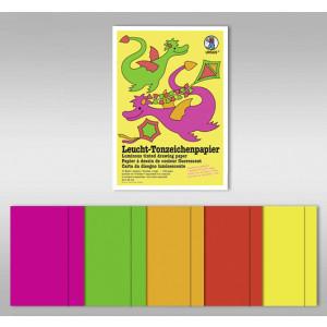 Leucht-Tonzeichenpapier 140 g/qm 35 x 50 cm - 20 Blatt in 5 Leuchtfarben