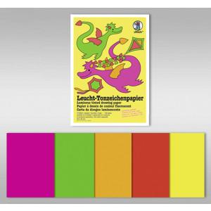 Leucht-Tonzeichenpapier 140 g/qm 50 x 70 cm - 10 Bogen in 5 Leuchtfarben
