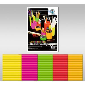 Leuchtfarben-Bastelwellpappe 260 g/qm 23 x 33 cm - 10 Blatt sortiert