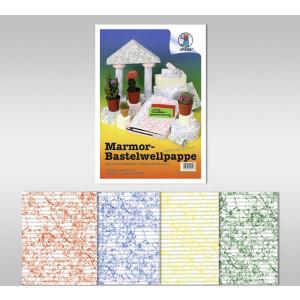 Marmor-Bastelwellpappe 260 g/qm 23 x 33 cm - 10 Blatt sortiert