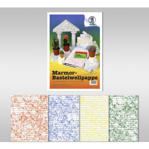 Marmor-Bastelwellpappe 260 g/qm 50 x 70 cm - 10 Bogen sortiert