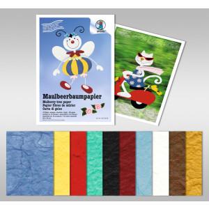 Maulbeerbaumpapier 80 g/qm 25 x 38 cm - 10 Blatt sortiert