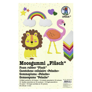 "Moosgummi 2 mm 20 x 30 cm ""Plüsch"" - 10 Blatt"