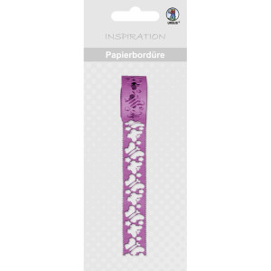Papierbordüren 200 cm lang, Motiv 15 Schmetterlinge pink