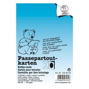 Passepartoutkarten quadratisch mit Briefumschlägen DIN A6 hochdoppelt weiß - 10 Stück