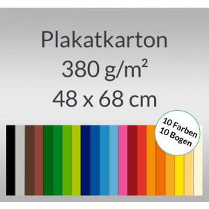 Plakatkarton 380 g/qm 48 x 68 cm - 10 Bogen sortiert