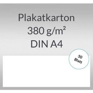 Plakatkarton 380 g/qm DIN A4  weiß - 50 Blatt
