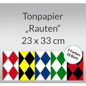Rauten-Tonzeichenpapier 130 g/qm 23 x 33 cm - 10 Blatt sortiert