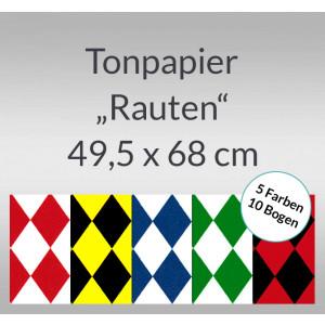 Rauten-Tonzeichenpapier 130 g/qm 49,5 x 68 cm - 10 Bogen sortiert
